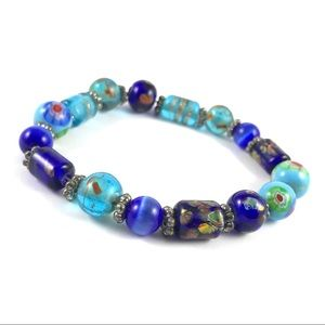 Gorgeous Vintage Elastic Blue Glass Bead Bracelet